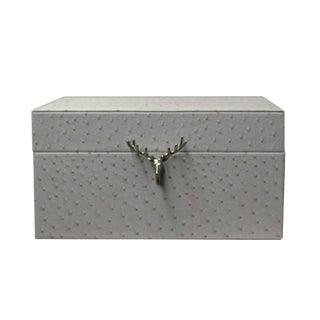 Oriental Deer Head Accent Cream White Rectangular Container Box For Sale