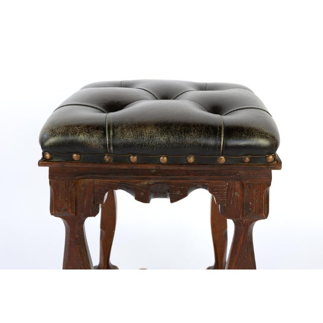 Arts and Crafts Period Square Stool Upholstered in Tufted Dark Leather, English, Circa 1880 For Sale - Image 10 of 11