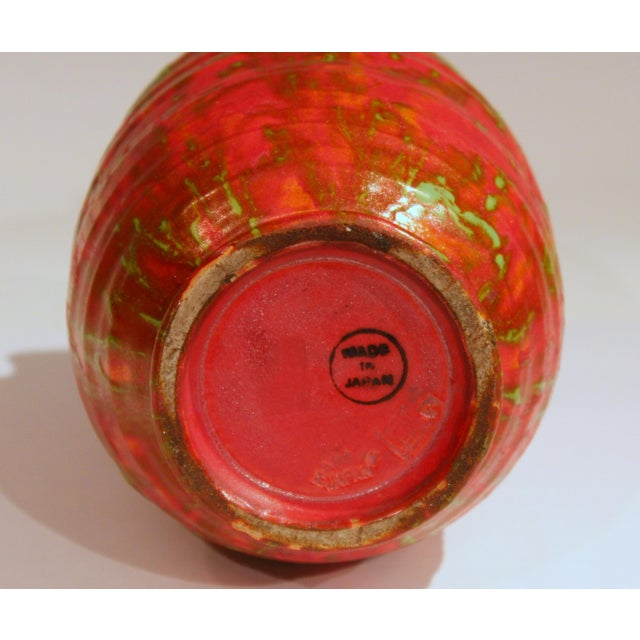 Awaji Pottery Atomic Chrome Red Art Deco Hot Lava Japanese Vase For Sale In New York - Image 6 of 11