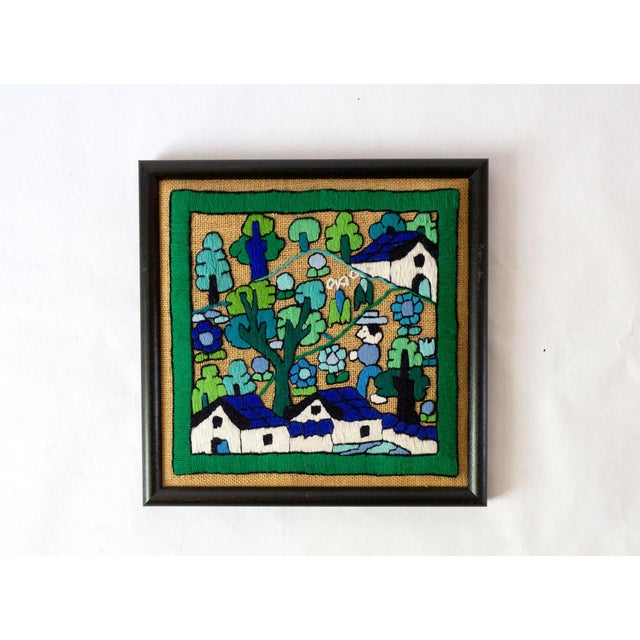 Fabric Folk Art Hand Embroidery Textile Art For Sale - Image 7 of 7