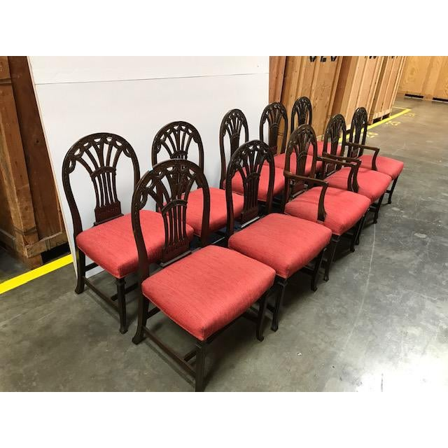 Red 1940s Vintage Chippendale Mahogany Dining- Set of 10 For Sale - Image 8 of 8