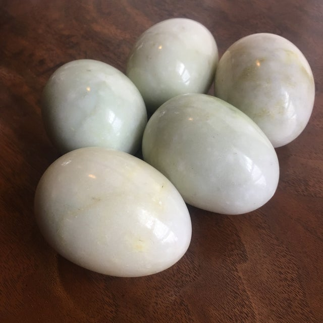 Solid! Slightly oversized marble (possibly alabaster?) eggs for display or fill. Pale green, ivory and the faintest pink...