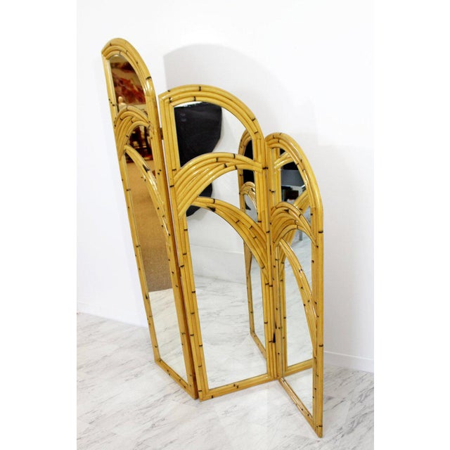 Art Deco 1970s Mid-Century Modern 3 Panel Rattan and Mirror Folding Screen Room Divider For Sale - Image 3 of 8