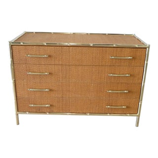 Chic 70s Brass Bamboo Trimmed Grass Cloth 4 Drawer Chest With Brass Bamboo Handles For Sale