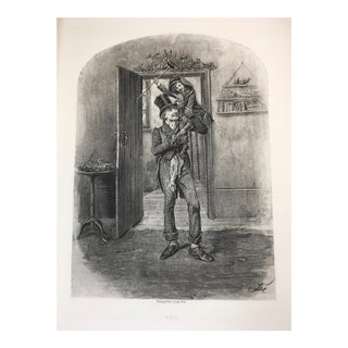 """1892 Antique Characters From Charles Dickens's """"A Christmas Carol"""" Photogravure Print For Sale"""