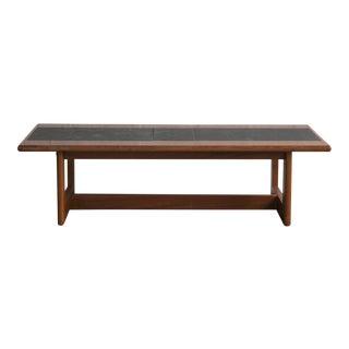 Mid-Century Modern Slate & Teak Coffee Table For Sale
