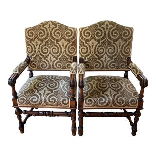 Late 18th C. French Open Arm Chairs - a Pair For Sale