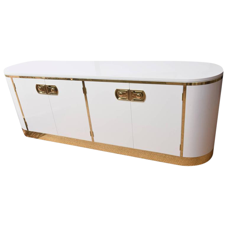 Mastercraft White Lacquered And Polished Brass Credenza/Cabinet   Image 1  Of 8