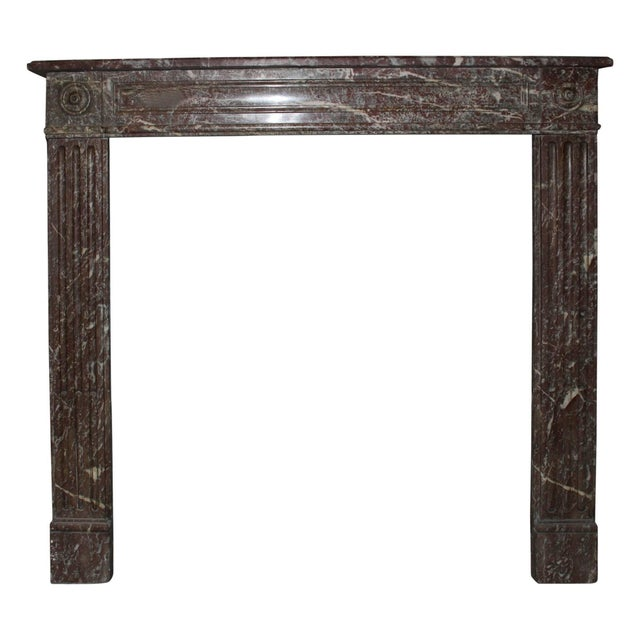 Stone French, Louis XVI Style Marble Mantel For Sale - Image 7 of 7