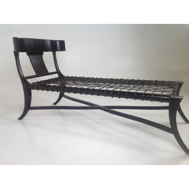 Espresso Klismos Style Chaise For Sale - Image 4 of 6