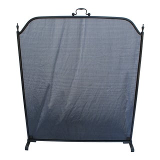Oxford Design Steel/Satin Nickel Finish Fire Screen For Sale