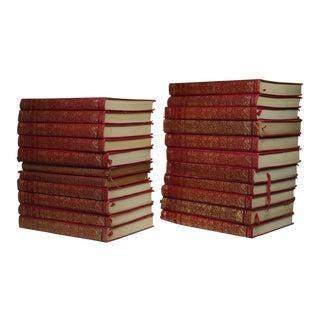 Set of 22 Red Leather Bound/Gold Trim Rudyyard Kipling Novels Pub. 1909-1930