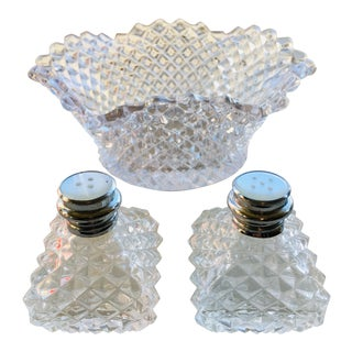Vintage 1940s Faceted Glass Compote and Salt & Pepper Shakers - 3 Piece Set For Sale