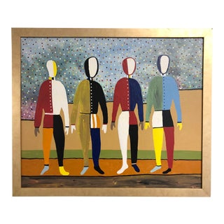 20th Century Figurative Painting on Board For Sale