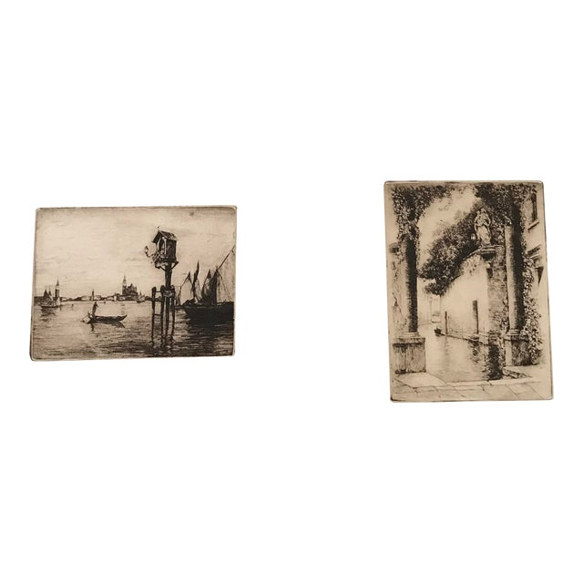 20th Century Dry Point Etchings - a Pair For Sale