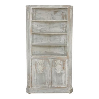 19th Century French Louis XVI Painted Corner Cabinet For Sale