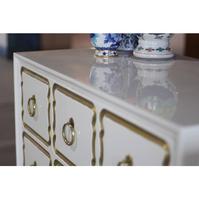 Dorothy Draper Espana Chests Lacquered in Creamy White - a Pair For Sale - Image 9 of 11