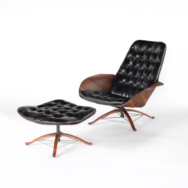 """Presenting this stunning Mid Century Lounge Chair with Ottoman in Leather by George Mulhauser for Plycraft """"Mr. Chair""""...."""
