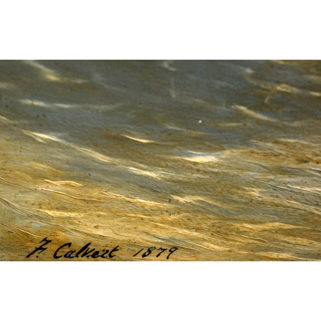 VIntage 1870s Schooners Under Sail Oil Painting - Image 3 of 3
