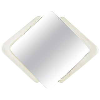 White and Pink Lacquer Diamond Shape Memphis Style Modern Mirror For Sale