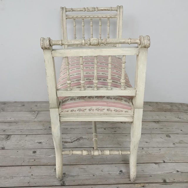 Wood 19th Century French Painted Louis XVI Armbench ~ Banquette For Sale - Image 7 of 12