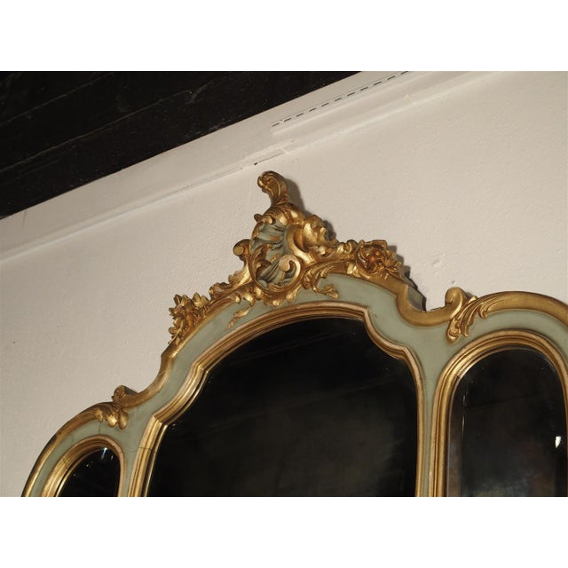 Wood Antique Painted Console Table and Mirror from Italy, Circa 1880 For Sale - Image 7 of 11