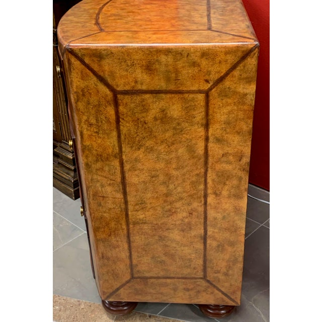Contemporary Lineage Leather and Pencil Rattan Chest For Sale - Image 3 of 11