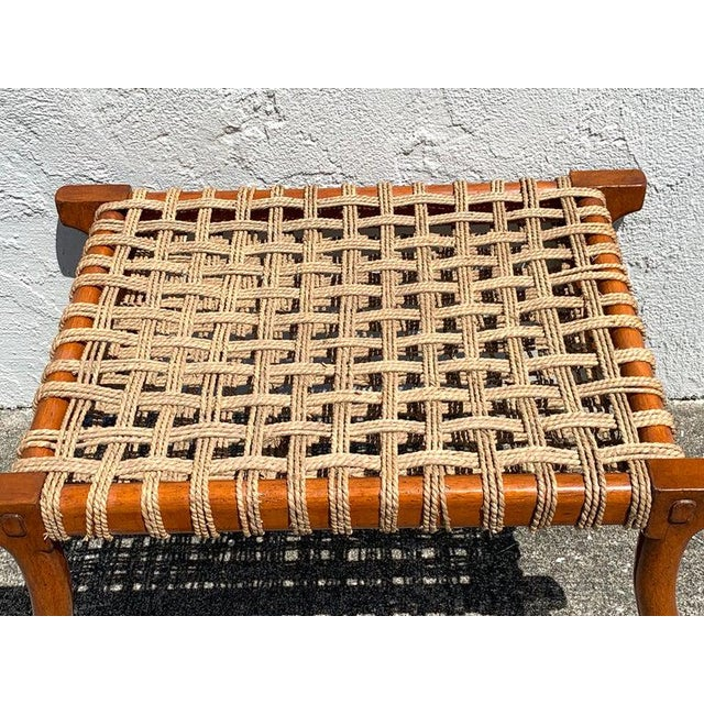 Vintage Klismos Mahogany and Woven Rope Bench, in the Manner of Robsjohn-Gibbons For Sale - Image 4 of 11