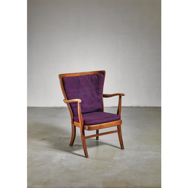 1960s Elegant Danish Wingback Armchair with Warm Deep Purple Cushions For Sale - Image 5 of 5