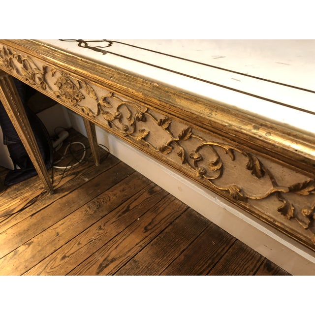 Gold Antique Gilded Painted Italian Regency Console Table With Marble Top For Sale - Image 8 of 11