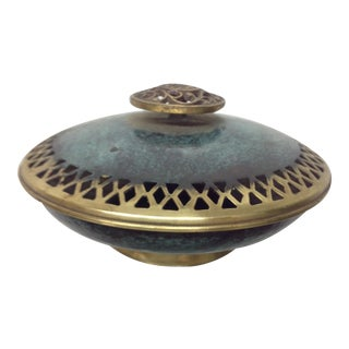 Boho Patinated & Incised Brass Covered Dish For Sale