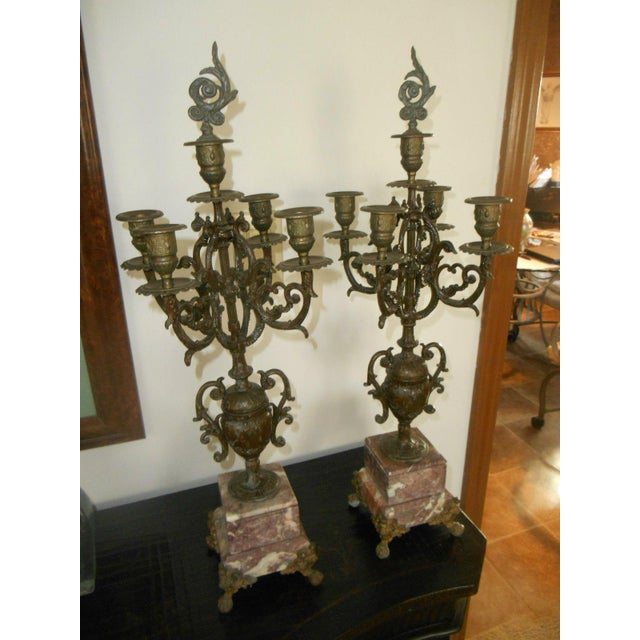 Antique Rose Italian Marble and Gilt Brass Candelabras - A Pair - Image 3 of 6