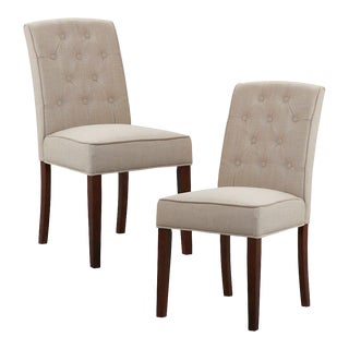 Madison Park Misha Tan Tufted Dining Chairs - a Pair For Sale