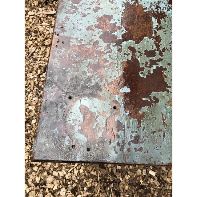 Industrial Distressed Wood Table With Metal Legs For Sale - Image 4 of 13