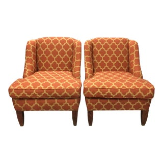 1990s Traditional Moorish Style Persimmon Upholstered Wingback Chairs - a Pair For Sale