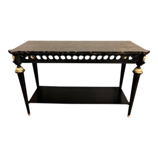 Jansen Style Ebonized Marble Top Bronze-Mounted Console or Sofa Table For Sale
