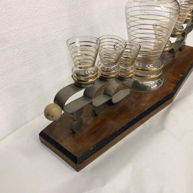 Transparent 1930s Italian Art Deco Glass and Wood Liquor Set on Stand - Set of 7 For Sale - Image 8 of 13