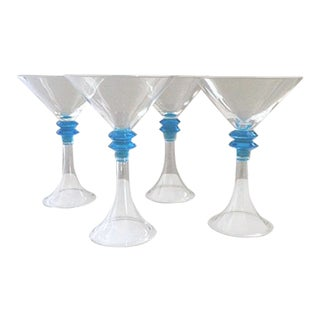 Modern Blown Glass Martini Glasses - Set of 4