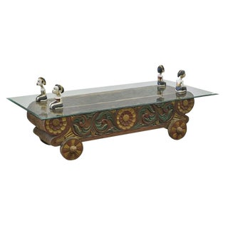 Balinese Glass Top Coffee Table For Sale