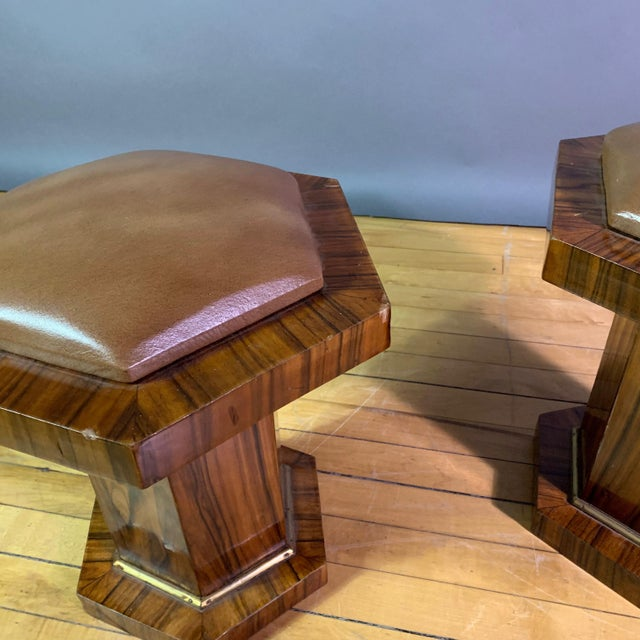 French Pair Hexagonal Rosewood and Brass Stool, France 1960s For Sale - Image 3 of 11