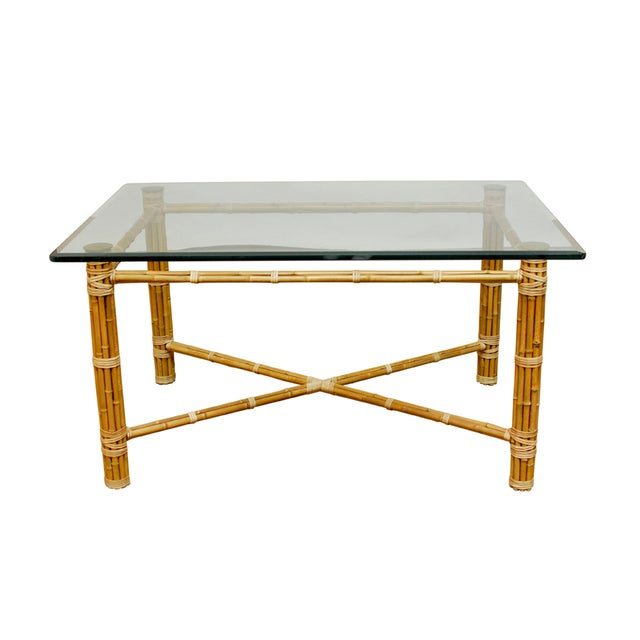 McGuire Reeded Bamboo Rectangular Dining Table For Sale