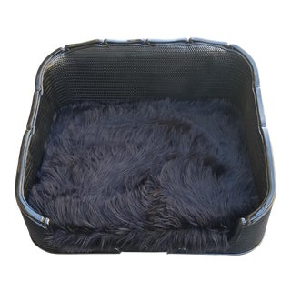 Black Lacquered Leather and Wood Pet Bed