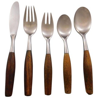 Fjord by Dansk Germany Stainless Steel Teak Flatware Set 8 Service 40 Pcs Modern For Sale