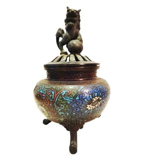 Superb 19th c Asian Enamel bronze Incense Burner w/Foo Dog