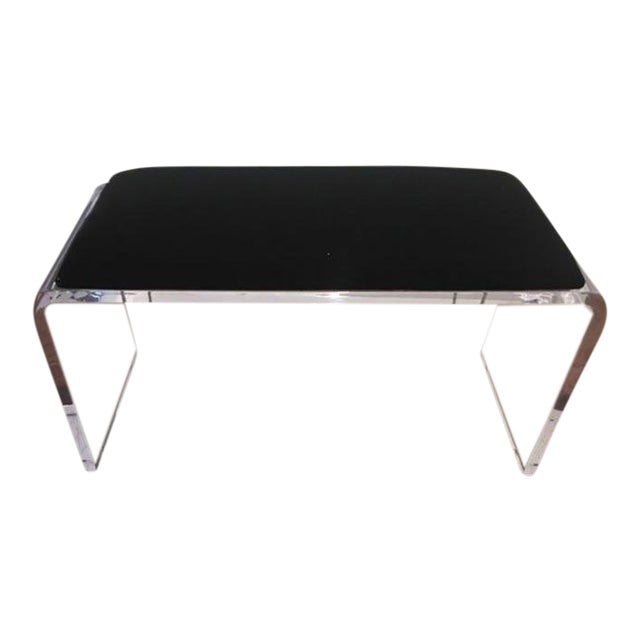 Scout Acrylic and Black Velvet Bench For Sale
