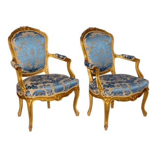 Pair of Gilded Rococo Armchairs For Sale