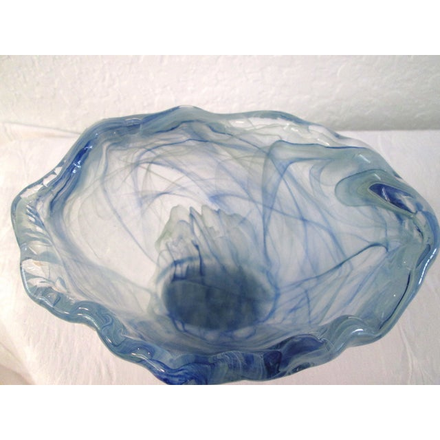 Murano Art Glass Swirl Sea Blue Bowl For Sale - Image 7 of 7