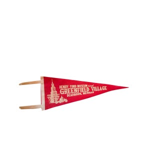 Vintage Henry Ford Museum and Greenfield Village Dearborn Michigan Felt Flag Pennant For Sale