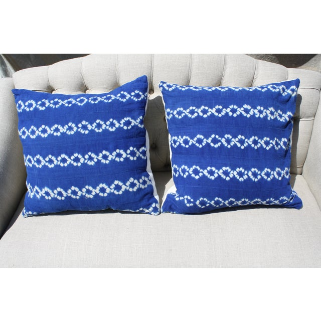 Bright Blue Indigo Mudcloth Pillows - Pair - Image 2 of 3