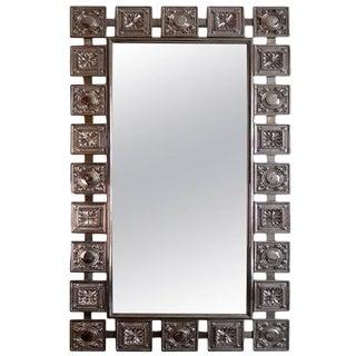 Mid Century Modern Nickel Silver Wall Mirror For Sale
